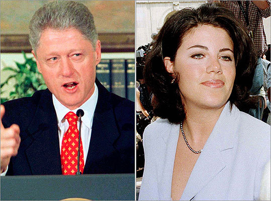 President Clinton Perhaps the biggest sex-related scandal in US political history was President Bill Clinton's admitted 'improper relationship' with intern Monica Lewinsky. The House impeached Clinton over allegations that he lied under oath about his relationship with Lewinsky.