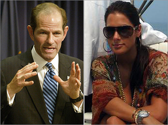 Eliot Spitzer The former New York governor, left, resigned in disgrace in March 2008 after the New York Times reported he had been caught on a federal wiretap arranging to meet with high-priced prostitute at a Washington hotel using the code name 'Client 9.' The prostitute, later identified as Ashley Dupre, right, was part of the ring called Emperors Club VIP.