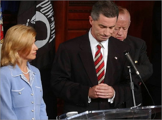 James McGreevey Former New Jersey Governor James E. McGreevey, standing with wife Gina, resigned in 2004 after he admitted he was homosexual and had had an extramarital affair with another man.