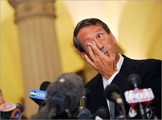 Mark Sanford Former South Carolina governor Mark Sanford admitted to having an extramarital affair with a woman in Argentina. The scandal, which broke in June 2009, came to light after Sanford had told aides he was 'hiking on the Appalachian Trail,'' when he was in fact traveling to Argentina.