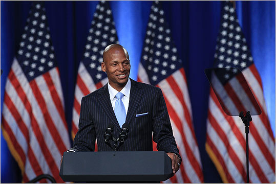 Before Obama took the stage, Boston Celtics All-Star Ray Allen was among those who addressed the crowd. 'Our colors are red, white, and blue. Our coach is Obama,' he said.