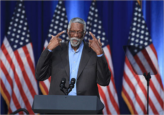 Celtics Hall of Famer Bill Russell also spoke about not being a leading scorer, but a leading passer. 'Let's all work together to accomplish our goal,' said Russell, who recently received the Presidential Medal of Freedom from Obama. Russell will be honored with a statue in Boston. The Celtics will also launch the Bill Russell Legacy Project, which will work with the Mass Mentoring Partnership to fund grants for mentoring programs throughout the city.