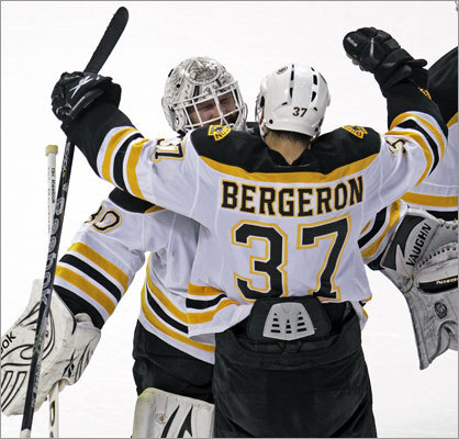 Tim Thomas made 31 saves and Patrice Bergeron played more than 19 minutes in his first game since suffering a concussion May 6 to help lead the Bruins to a 2-0 victory over the Lightning in Game 3 of the NHL Eastern Conference finals. The Bruins took a 2-1 series lead.