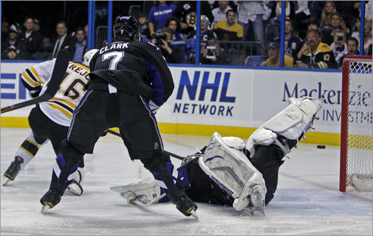 Bruins center David Krejci beat Lightning goalie Dwayne Roloson 1 minute, 9 seconds into the first period to put Boston ahead 1-0 in Game 3 of the Eastern Conference finals in Tampa, Fla. Lightning defenseman Brett Clark was unable to prevent the goal.