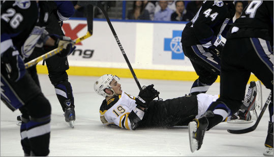 Bruins rookie Tyler Sequin found himself alone on the ice after being checked by a group of Lightning in the first period.
