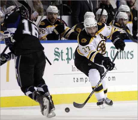 Bruins center Patrice Bergeron returned to action for the first time since he suffered a concussion in Game 4 of the Bruins-Flyers series on May 6.