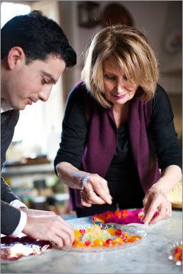 Condorelli and Padova prepare a 'draft' of candied fruit that will decorate a cassata dessert. Read: Three courses, one cuisine