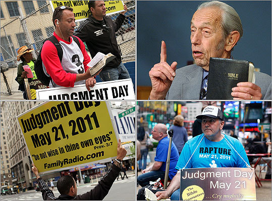 Are you ready for the end of the world? Today is the Rapture, or Judgment Day, according to Harold Camping, 89, pictured, upper-right, founder of the Family Radio Worldwide. Camping has been telling his thousands of listeners that today is the day Jesus Christ returns to bring the faithful to heaven. This isn't the first time someone has predicted that the end is near over the last couple of thousand years. Scroll through for more on this Saturday's big event and other apocalyptic examples (we'll stick with the more recent predictions).