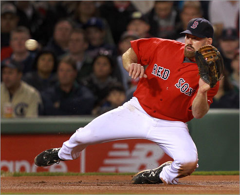 Red Sox third baseman Kevin Youkilis fielded a hard liner by Cubs second baseman Darwin Barney in the sixth inning.