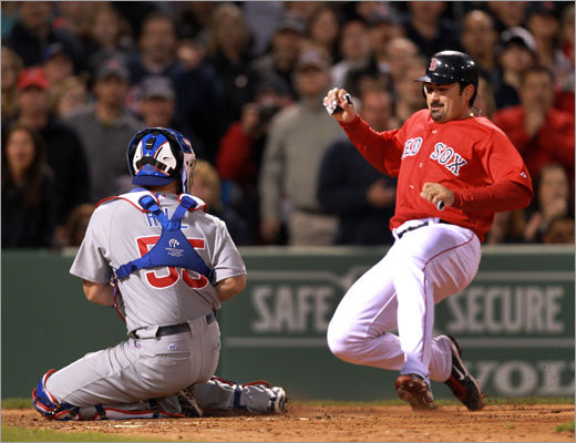 Red Sox first baseman Adrian Gonzalez was thrown out at the plate when he tried to score from first base on a double by David Ortiz. Cubs shortstop Starlin Castro threw a strike to catcher Koyie Hill to get Gonzalez by several feet.