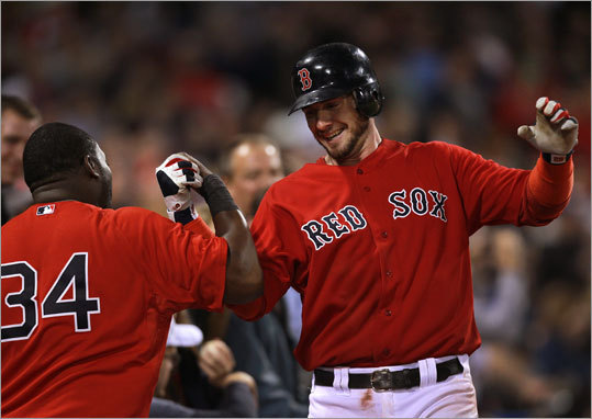 Catcher Jarrod Saltalamacchia belted a solo home run in the fifth inning, then received congratulations from David Ortiz when he got back to the dugout.