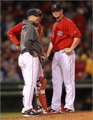 Red Sox starting pitcher Jon Lester (31) wasn't sharp but he battled his way through six innings against the Cubs. Lester allowed five runs on 12 hits and struck out five.