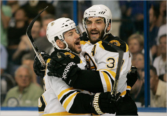 Patrice Bergeron and Mark Recchi