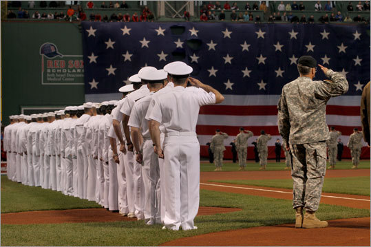 US military personnel took part in a pregame ceremony as part of the Red Sox' Run to Home Base event.