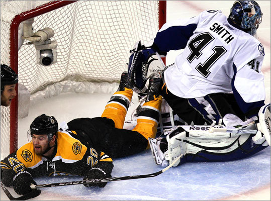 Left wing Daniel Paille collided with Lightning goalie Mike Smith in the second period.