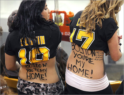 A pair of fans felt right at home at TD Garden.