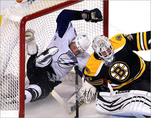 Lightning forward Steven Stamkos ended up in the net, but the puck did not following a first-period rush against Tim Thomas and the Bruins.