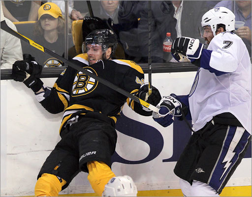 Bruins center David Krejci absorbed a big hit from the Lightning's Brett Clark in the first period.
