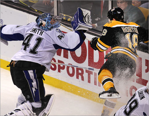 Bruins right wing Nathan Horton collided with Lightning goalie Mike Smith behind his net in the first period.