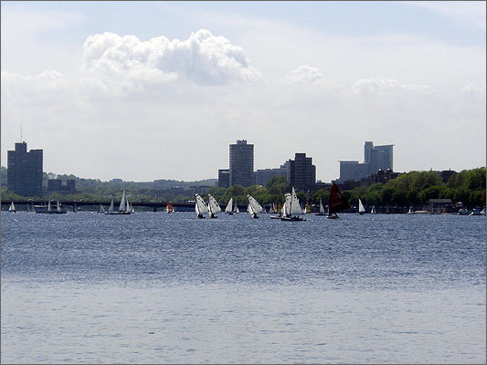 With the sun (finally) out, sailboats dotted the Charles River.