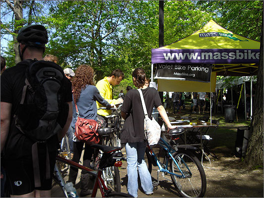 Mass Bike offered valet bike parking. Local non-profit environmental organizations had booths at the festival.