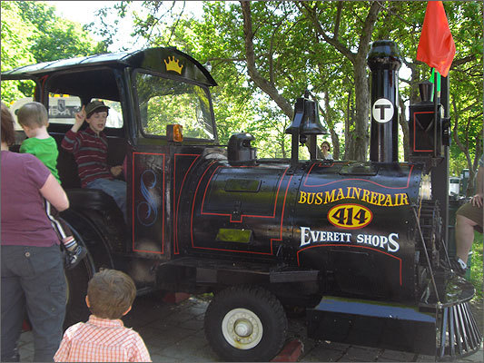 Kids took turns checking out this train, provided by the MBTA, and proved that the horn was in working order.