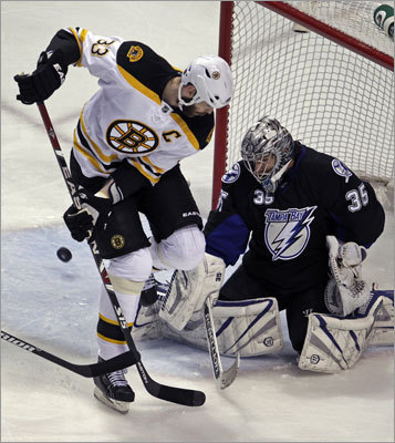Bruins defenseman Zdeno Chara tried to tip the puck past goalie Dwayne Roloson while the Bruins were on a first-period power play.