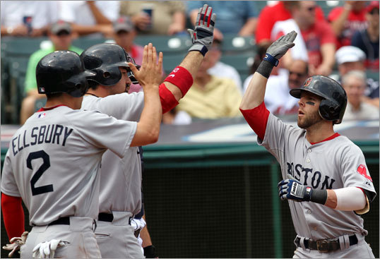 Red Sox second baseman Dustin Pedroia (right) was greeted at home plate by teammates Jacoby Ellsbury and Adrian Gonzalez after hitting a two-run home run during the first inning.
