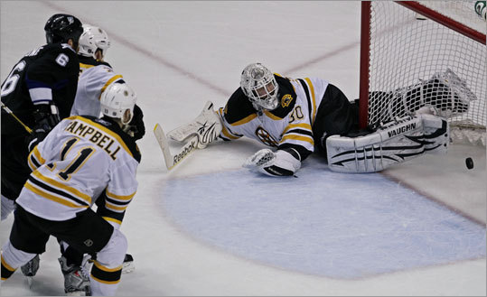 A second-period shot by Tampa Bay's Teddy Purcell (not pictured) beat Tim Thomas to put the Lightning ahead 3-2.