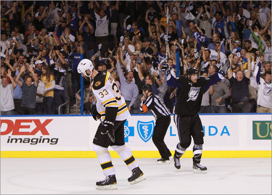 Zdeno Chara and the Bruins lost to the Lightning 5-4 in Game 6 of their Eastern Conference finals series in Tampa Bay, forcing a decisive Game 7 on Friday in Boston.