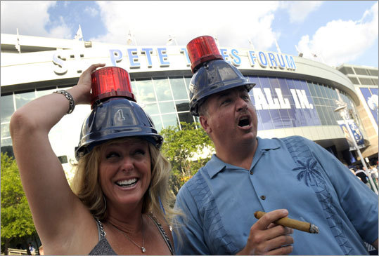 Lightning fans Pamela and Chris Kelsch were looking for the Lightning to light their lamps more frequently than they did in Game 5, when Tampa Bay only scored one goal.
