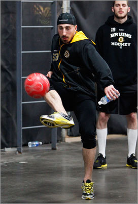 Brad Marchand warmed up for Game 6 by having a kickaround of a soccer ball.