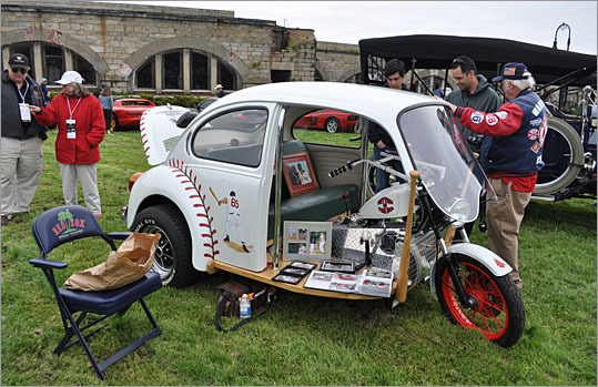 Call it the Baseball Beetle. This Red Sox tribute only has three wheels, and looks more like an Indian tuk-tuk than a Volkswagen.