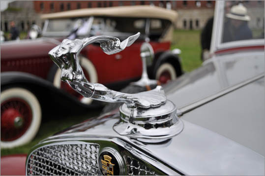 A 1927 Lasalle sits behind this gleaming Cadillac ornament.