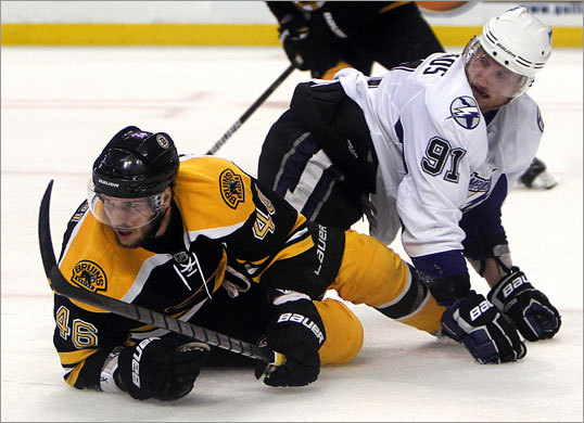 David Krejci collided with Tampa's Steven Stamkos in the first period.