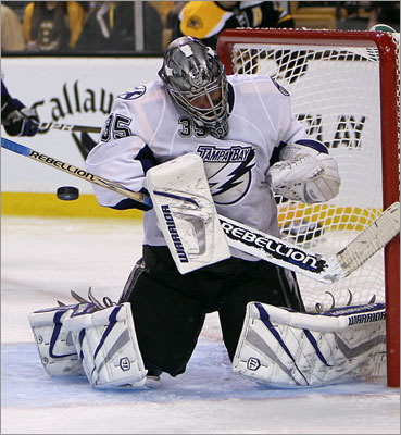 With the game scoreless for the first two periods, Lightning goalie Dwayne Roloson kept it that way with this save in the third period. Rolson stopped 37 of the 38 shots he faced in the game.