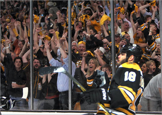 Nathan Horton celebrated his goal, which gave the Bruins a 1-0 lead that would eventually hold up.