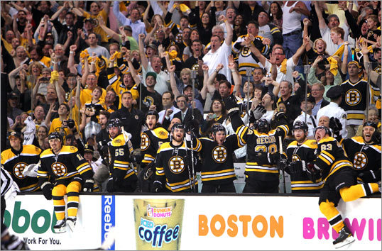 The Bruins bench erupted in celebration as the clock struck zero and the Bruins held on for a 1-0 win and a trip to the Stanley Cup finals.