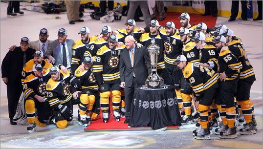 The Bruins were presented with the Prince of Whales trophy following the game.