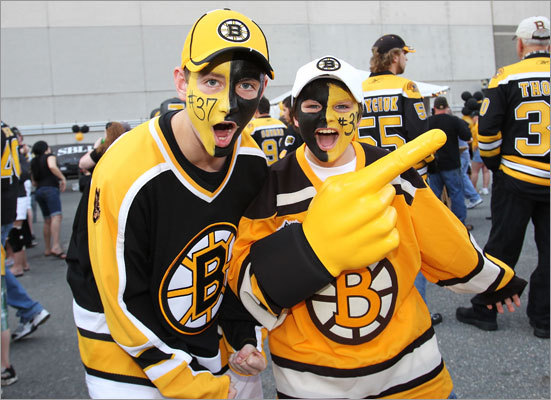 Bruins fans Eric and Cliff Nemkovich show their team pride outside of TD Garden before Game 7.