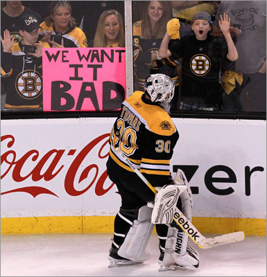 Bruins goalie Tim Thomas skated past fans who clearly had the same wish as he did for Game 7.
