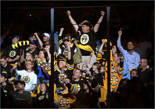 Fans in the TD Garden stands got pumped up for the start of the game.