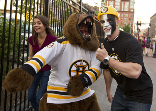Bruins fans Ricky Doyle (left) and Dave Thomspn of Quincy showed their allegiance before entering the TD Garden for Game 7.