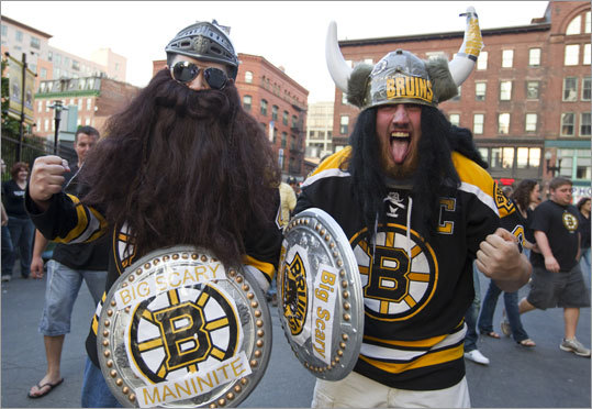 Mike Corkren (left) and Pat Kearns of Weymouth dressed as 'big scary men' for Game 7.