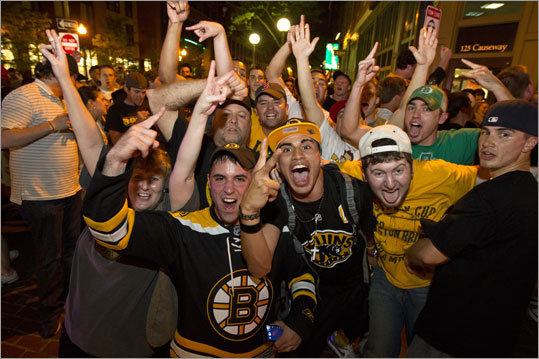 Hockey fans on the corner of Causway Street and Canal Streets celebrated the Bruins' 1-0 victory over the Tampa Bay Lighting in Game 7 of the Eastern Conference finals. The win put the Bruins into the Stanley Cup Finals.