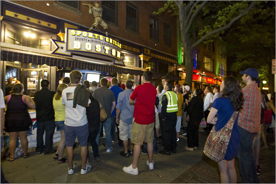Many fans gathered in front of Sports Grille Boston to watch Game 7.