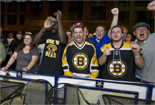 Fans in front of Sports Grille Boston were stoked after Nathan Horton scored the game-winning goal in the third period.