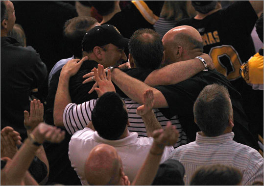 The victory literally brought some fans together at TD Garden.