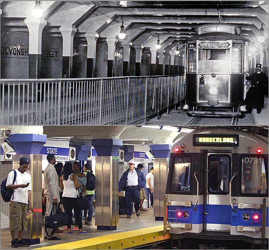 The recently renovated State Street station (bottom) was called Devonshire Street station in 1904 (top). Riders can still see remnants of the old stop. (Clark Collection (top), John Tlumacki/Globe Staff)