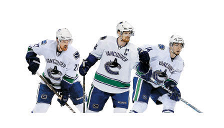 Canucks first line The Sedin twins, Daniel (LW) and Henrik (C), are the best 1-2 scoring punch in the league. Daniel is the sniper and Henrik is the delivery man, but Alexandre Burrows does the dirty work and he can finish. This No. 1 line will not be dumping and chasing; the Sedins play a puck-control game. The undrafted Burrows has been riding with the Sedins for two seasons.